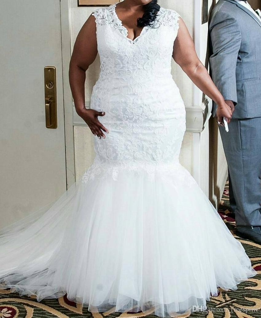 Lace Plus Size Mermaid Wedding Dress Deep V Neck Classic Ivory Church Bridal  Gown With Lace Up Back Simple Mermaid Wedding Dresses Wedding Bride Dress  From ... 6536cf695fc8