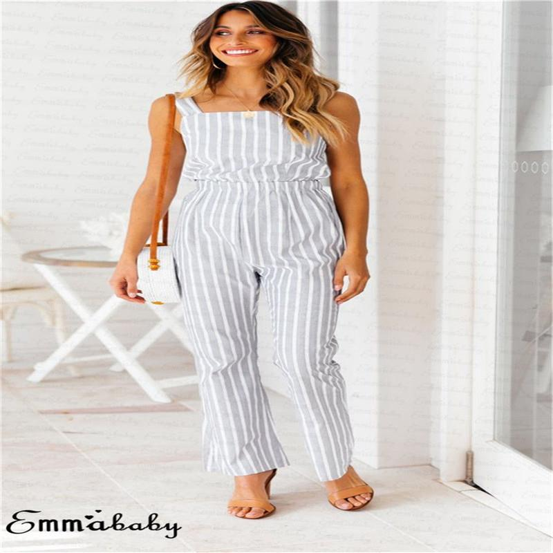 48e01a9efef Trendy Ladies Women Rompers Sleeveless Square Collar Summer Jumpsuit  Backless Polyester Romper Gray Striped Clothes One Pieces Online with   34.12 Piece on ...