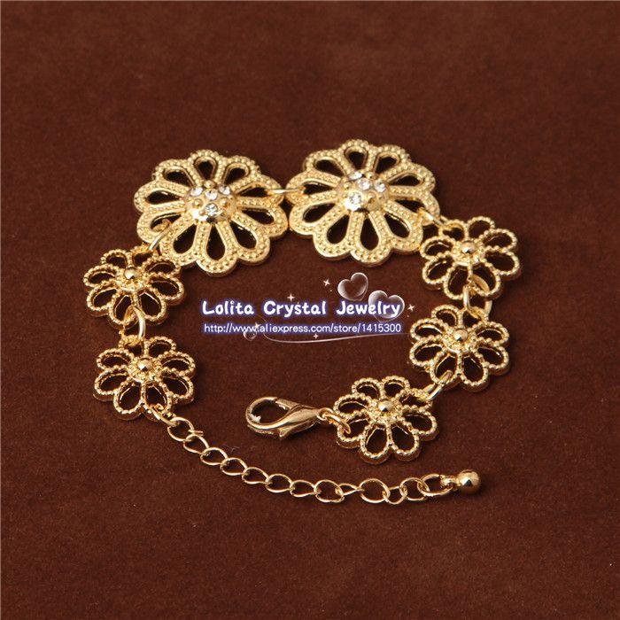 Gold Filled Dubai flor de cristal austriaca austriaca collar pendiente de la boda / novia conjunto de joyas SJT011