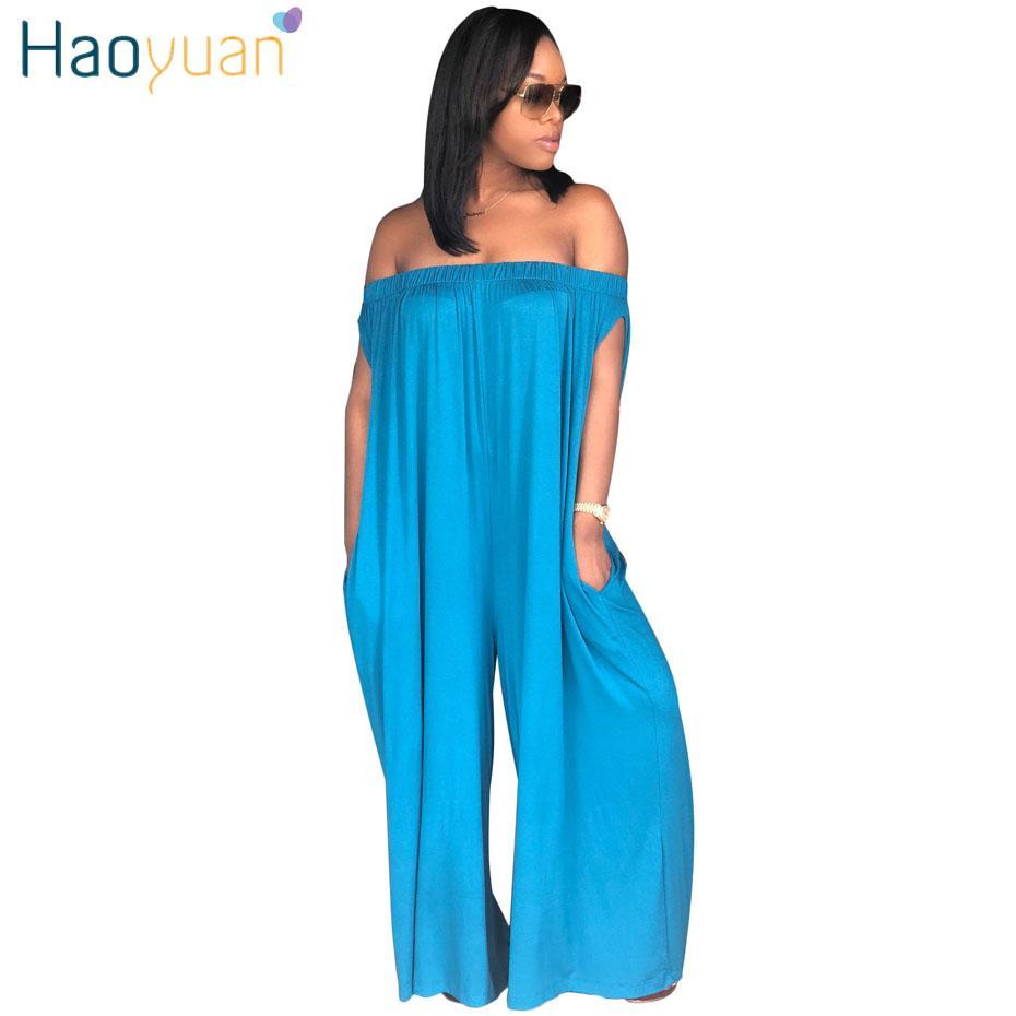 8944368e72c wholesale Plus Size Rompers Womens Jumpsuit Loose Pants Body Overalls Club  Ladies Backless Off Shoulder Slash Neck Sexy Jumpsuits
