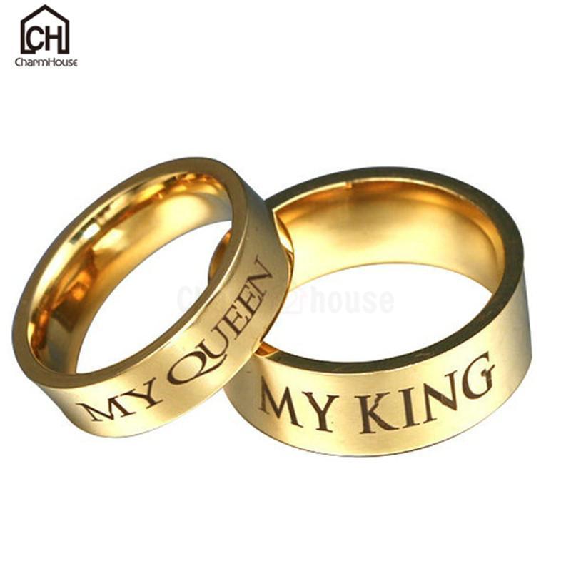 Acquista Tutta La Vendita Acciaio Inossidabile My King Queen Lettera Anelli  Gli Uomini Le Donne Gioielli Di Moda Color Oro Coppie Weding Anelli Gli  Amanti