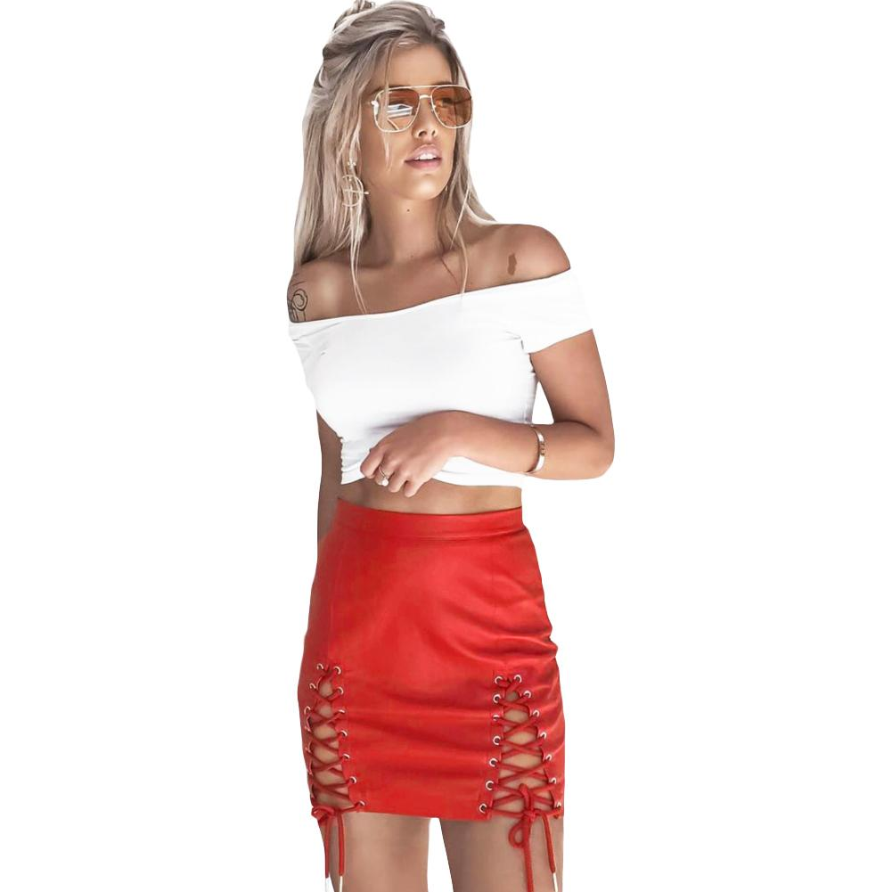 c1da5cd7e8 2019 Women PU Leather Skirt Lace Up High Waist Zipper Bodycon Skirt  Harajuku Short Pencil Skirt Faux Leather Black/Red Jupe Cuir 2018 From  Mobile07, ...