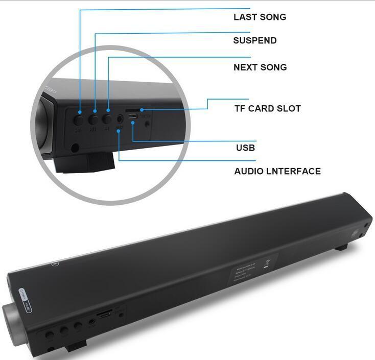 LP-08 3D Sound Bar Wireless Bluetooth Speaker With Double 5W Bass Surround Sound Speaker Support TF Card Calls Function Better Bluedio dhl