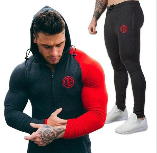 2017 Gyms New tracksuit men pants Sets Fashion body engineers sweat suits brand heren kleding casual fitness Outwear jogger set