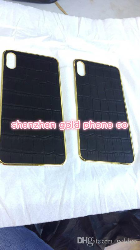 to X Back Housing with Metal real gold Frame Battery Door Replacement for iPhone x real crocodile leather back part metal