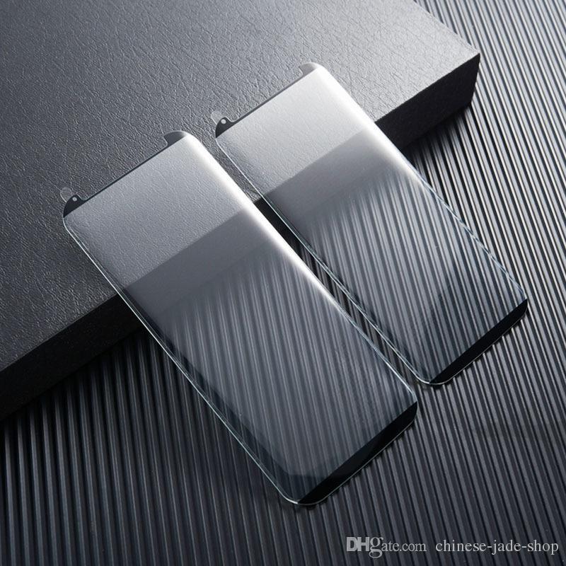 Caja amigable con vidrio templado 3D curvado para Samsung Galaxy Note 8 S9 PLUS S8 PLUS S7 Edge / Ningún paquete de venta al por menor
