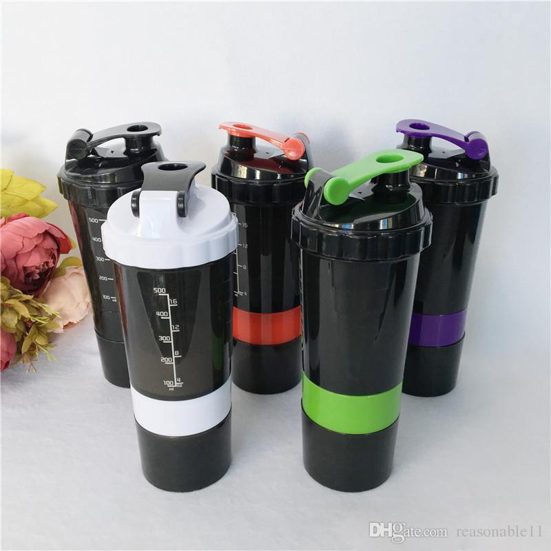 Spider Protein Shaker Wasserflaschen Tassen Getränke 3 in 1 Sports eingefügt Mixing Ball 6 Farbe 500ml