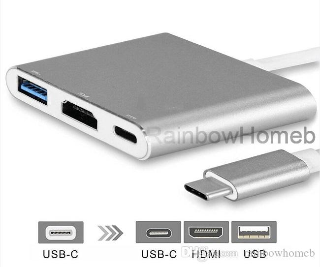 USB 3.1 Type C to HDMI Adapter AV Converter Charging Cable for iPhone Cell Phone NES Switch Macbook Laptop 1080P 4K HDMI