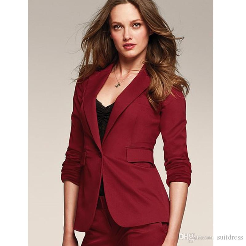 17ba317fc8c 2019 New Style Female Long Sleeve Suit Pants Slim Business Ladies Party  Suit One Buttons Jacket+Pants Custom Made From Suitdress