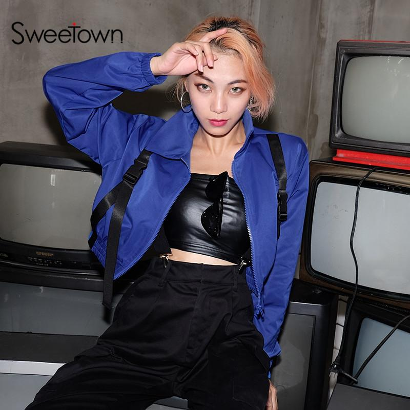 03274771e Sweetown Bomber Coats And Jackets With Plastic Buckle Blue Chaqueta Mujer  Women Streetwear Cropped Long Sleeve Gothic Jacket