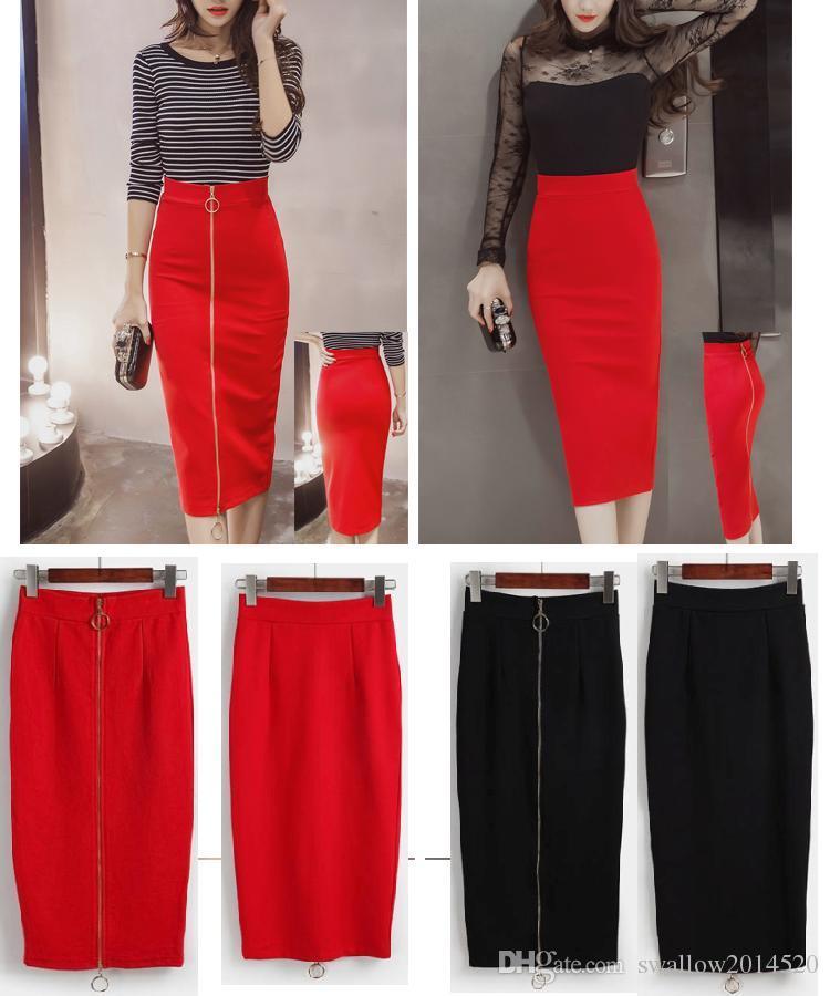 Compre Sólido Negro   Rojo Cremallera Larga Espalda   Frente Falda Maxi  Mujer Casual Slim Cintura Alta Bodycon Lápiz Falda Elástica Stretch Saias  Femininas ... faab9f1fb698