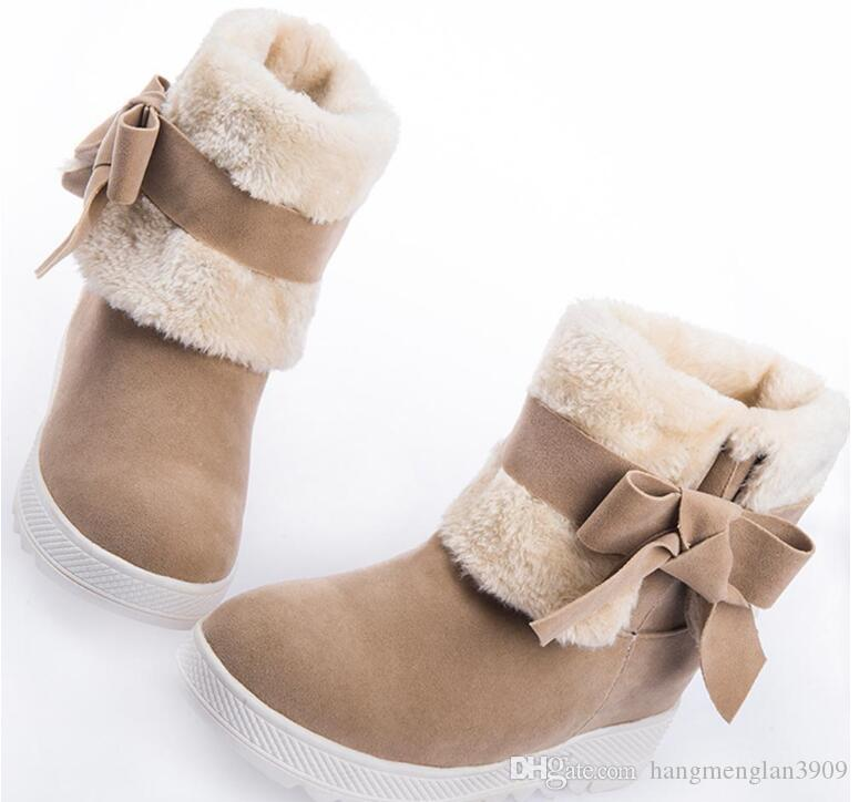 New Arrival Hot Sale Women Boots Solid Bowtie Slip-On Soft Cute Women Snow Boots Round Toe Flat with Winter Shoes