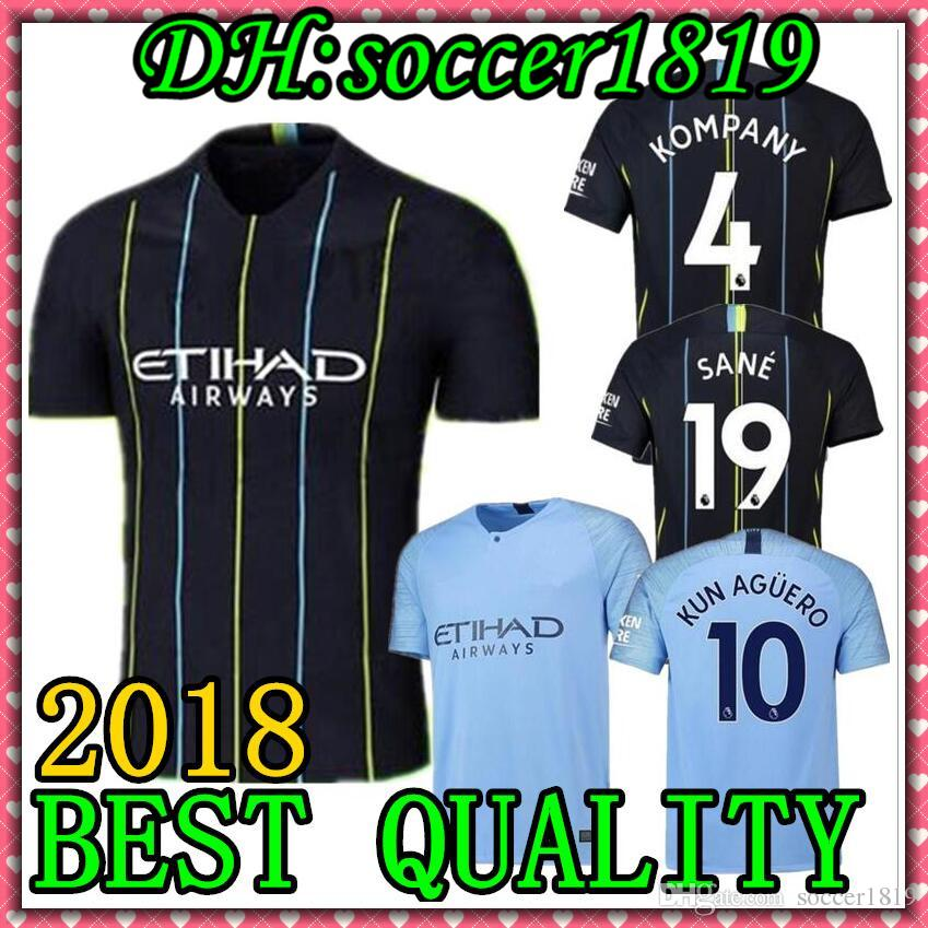 acaa60f789d 2019 18 19 Sane Soccer Jerseys 2018 2019 Man City Kids Kit DZEKO KUN AGUERO  KOMPANY TOURE YAYA DE BRUYNE Home Shirt Adult Kids Maillots De Foot From ...