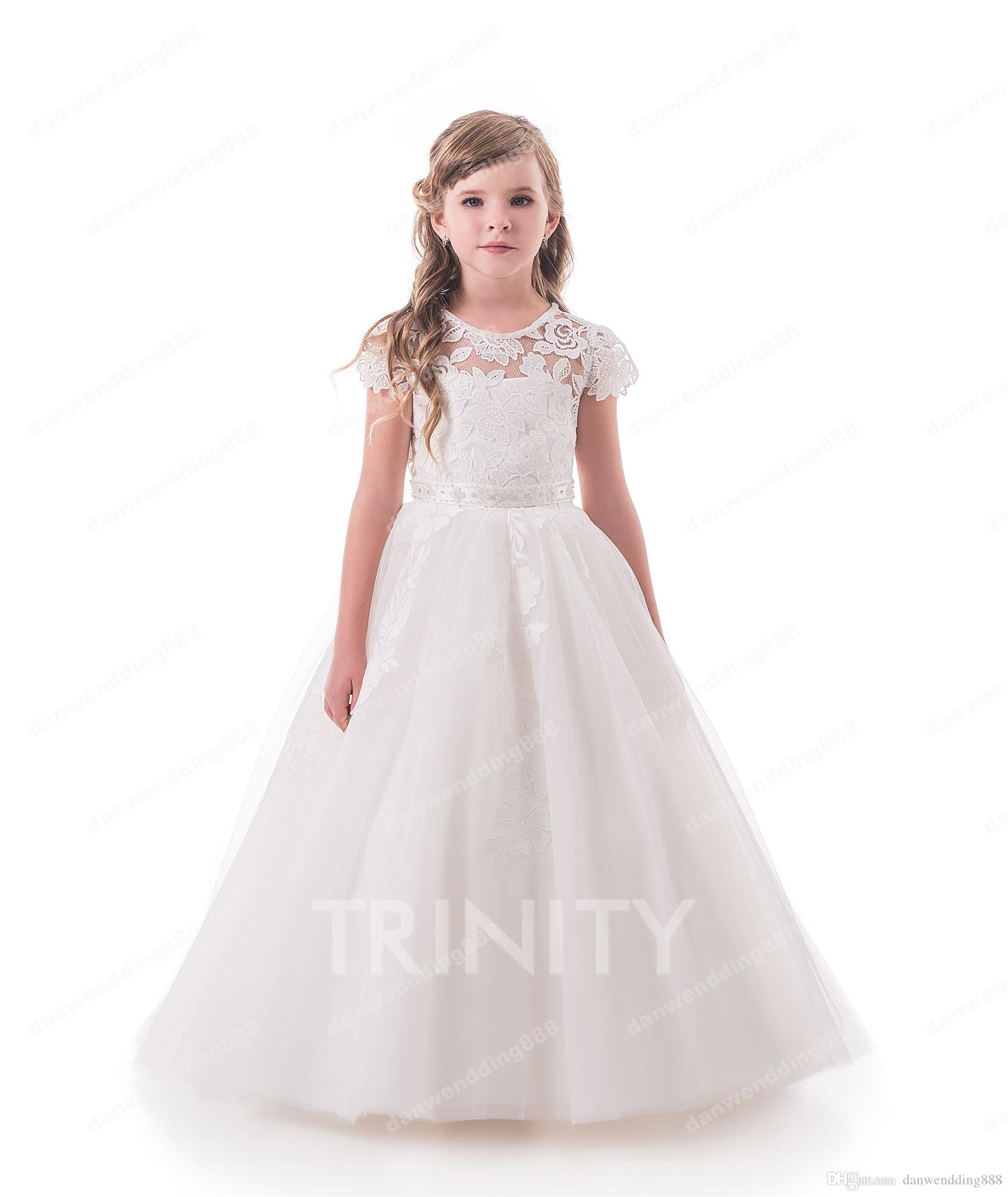 c3898065c4 Beauty Ivory Lace Tulle Jewel Applique Flower Girl Dresses Princess Dresses  Girl S Pageant Dresses Custom Made Size 2 6 8 10 12 14 KF327249 Girl Party  ...