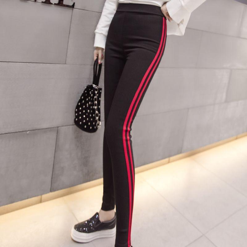 e9b9c678277 2019 Casual Trousers For Women Red White Striped Elastic Pencil Pants  Female Plus Size 2XL Black Skinny Leggings Pantalon Femme N518D From  Hongxigua
