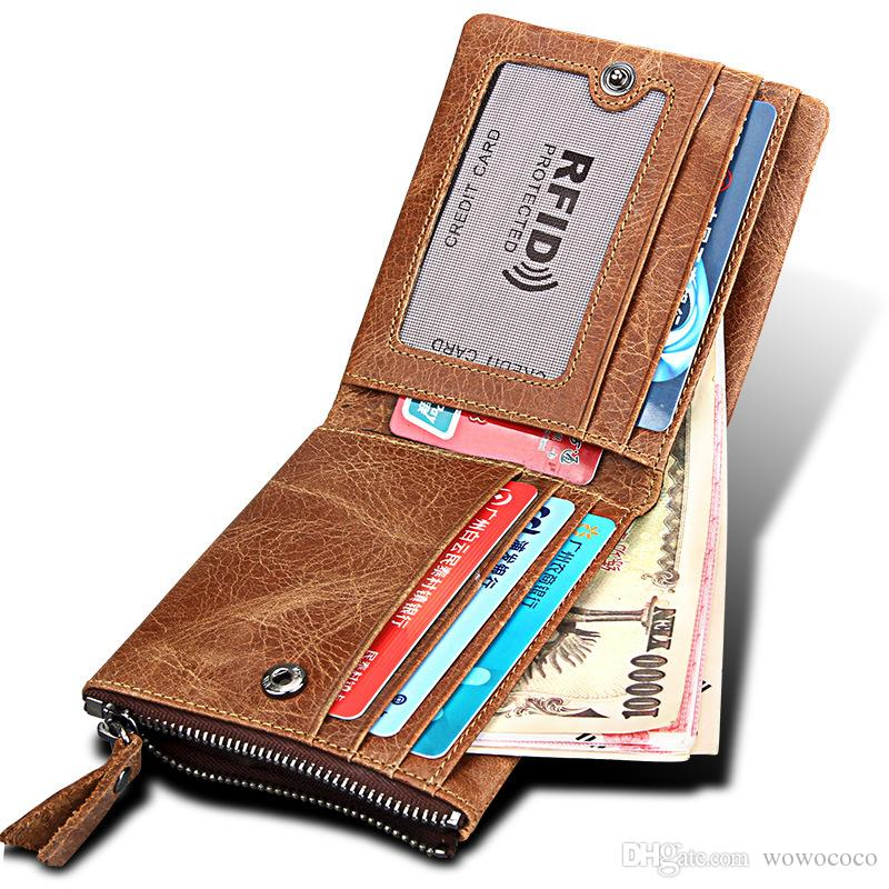 9dacf1d3fd68 Luxury RFID Blocking Bifold Genuine Leather Wallet Credit Card Protector Mens  Vintage Cowhide Crazy Horse Leather Side Zipper Brown W098 Cheap Wallets ...