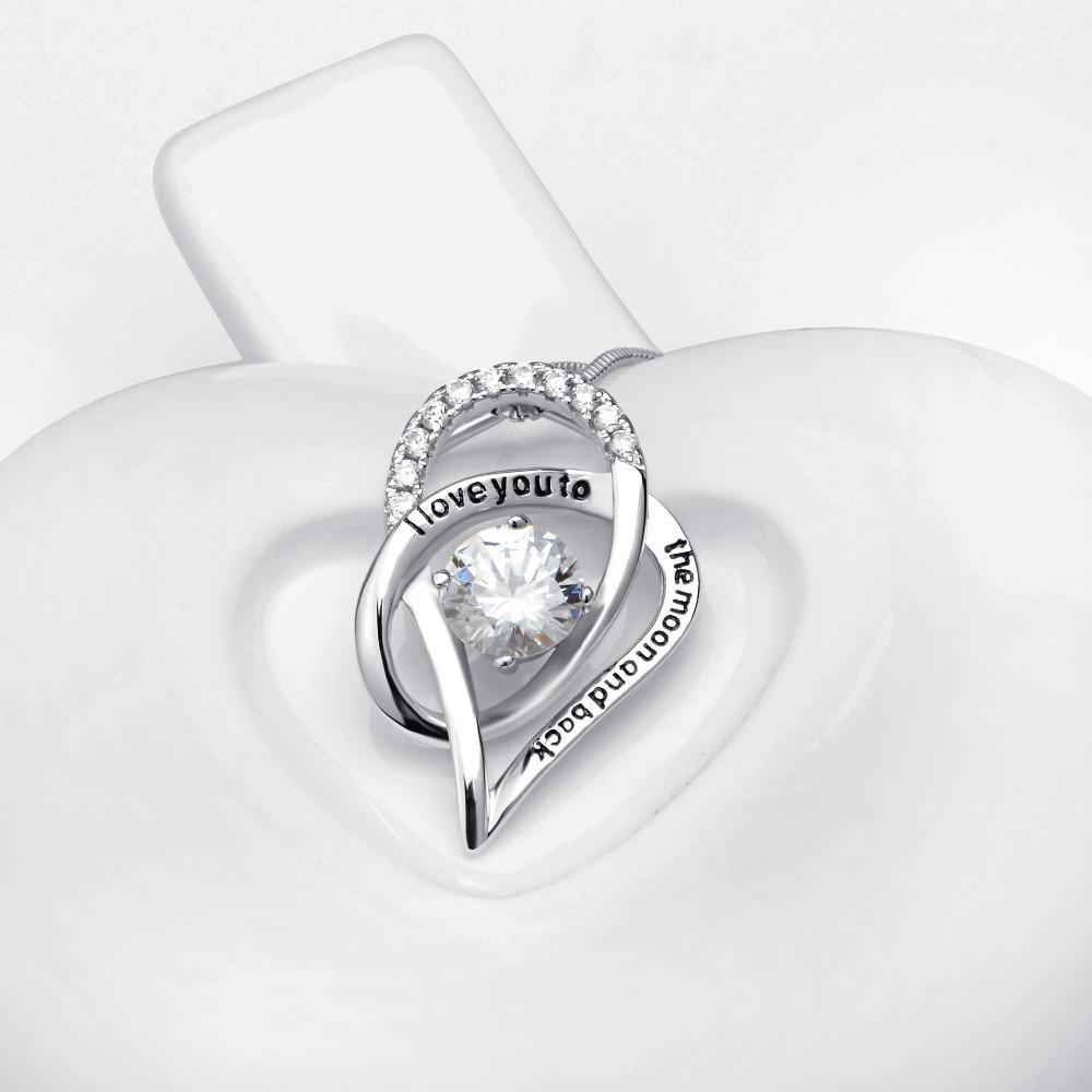 YFN 100% Echt Reine 925 Sterling Silber Ich Liebe Dich Zum Mond Und Zurück CZ Strass Herz Anhänger Halsketten Frauen Halsband