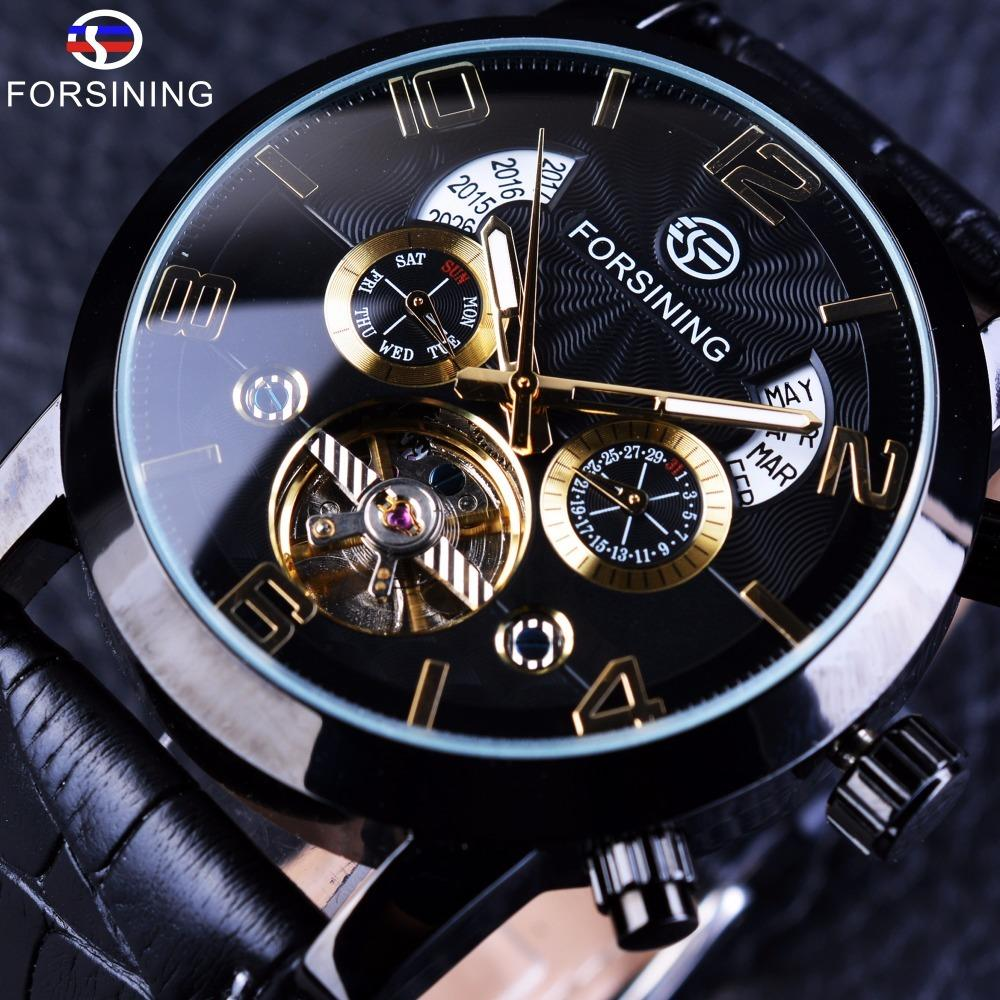 7053bbb385b Compre Forsining Tourbillion Moda Onda Preto Relógio De Ouro Multi Função  Display Mens Relógios Mecânicos Automáticos Top Marca De Luxo D18101002 De  ...