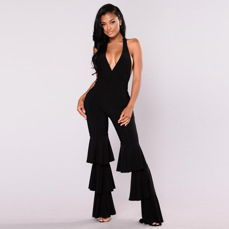 0e9b4e89f14 2019 Sexy Ruffles Details Pant Wide Leg Overalls Black Red Women Halter  Backless One Piece Long Jumpsuit Plus Size Enteritos Mujer From Clothfirst