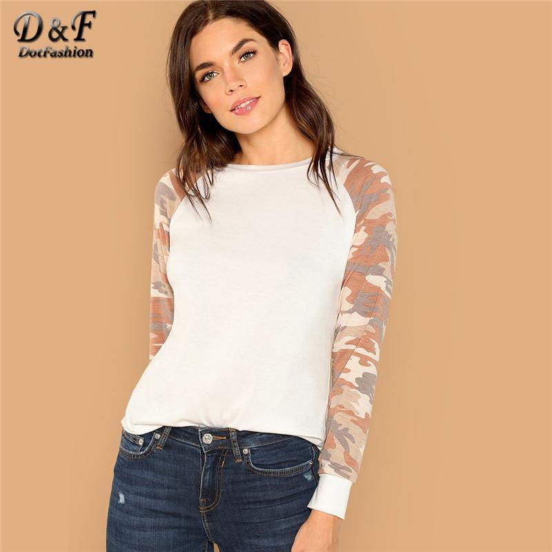 Dotfashion White Colorblock Camo Raglan Sleeve Curved Hem Top Women Casual  Autumn 2018 Clothes Long Sleeve Tee Pullovers T-Shirt T-Shirts Cheap  T-Shirts ... 4c0fec01046c4