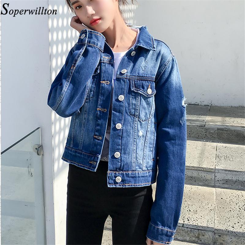 dfb32f73ac 2018 Winter Plus Size Slim Bomber Denim Jacket Women Autumn Female Jeans  Jacket Print Hole Women Jean Basic Coat Blue  JK13 Summer Jacket Faux Fur  Jackets ...
