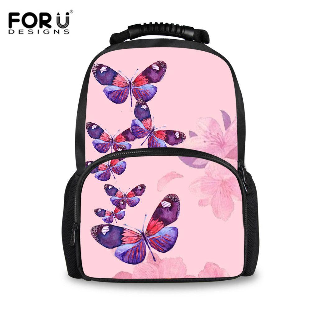 697b744edec FORUDESIGNS Pink Butterfly Printed Large School Bags For Girls Bookbag Kids  Schoolbag Satchels Women Travel Backpack Tornister Cheap Handbags Burton ...