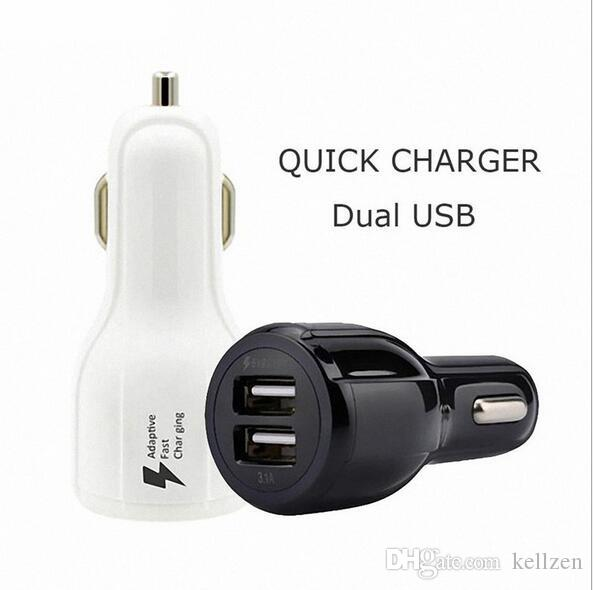 Fast Car Charge 3.1A Dual USB 9V 2A 12V 1.2A QC2.0 Fast Charging Phone Charger For Cell Phone with Retail Package