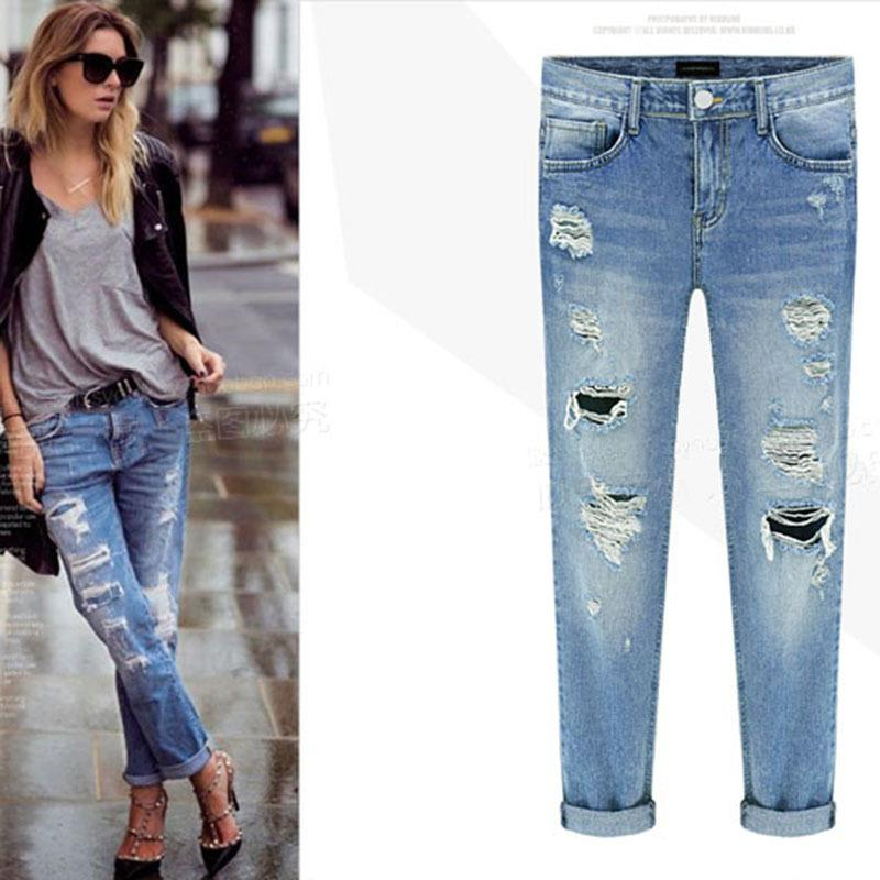 ca2fba9b9d Compre Pantalones Vaqueros De Las Mujeres De Cintura Alta Novio Jeans Mamá  Señoras Pantalones De Mezclilla De Algodón Más El Tamaño De Lápiz Rasgado  Skinny ...