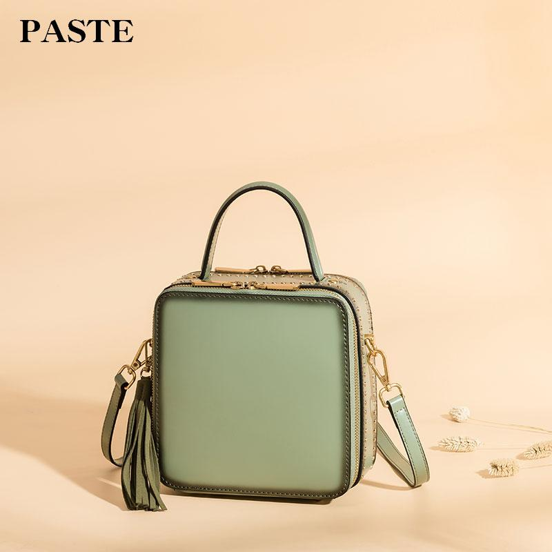 bf905a6af7a9 Paste Women Crossbody Bags Leather Shoulder Bags Square Handbags 2018 Brand  Solid Small Flap Lady Vintage Messenger Bag P3057 Purses For Sale Reusable  ...