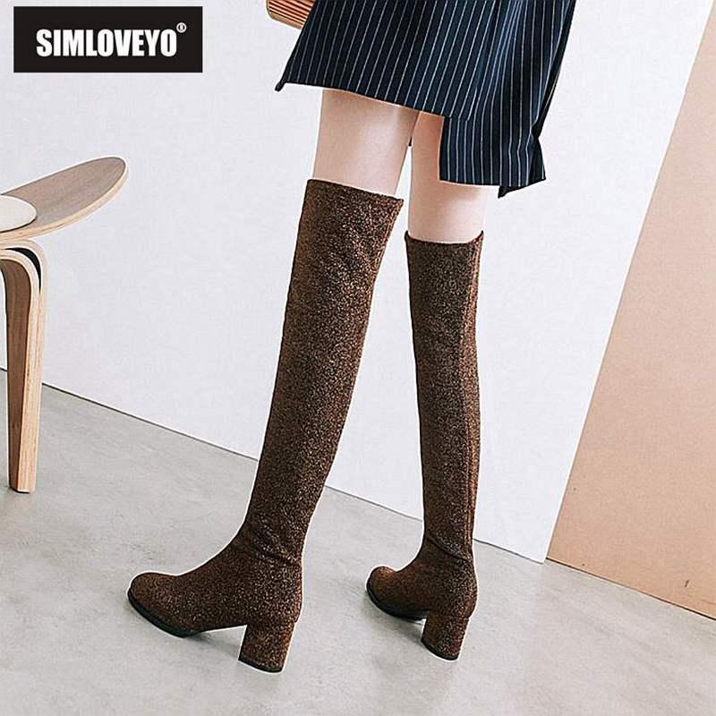ee32da1cabd Compre SIMLOVEYO Zapatos Mujer Botas De Invierno Slip On Thick Heel Tacón  Cuadrado Puntera Sobre La Rodilla Botas Botas Feminino Mujer B971 A $45.48  Del ...