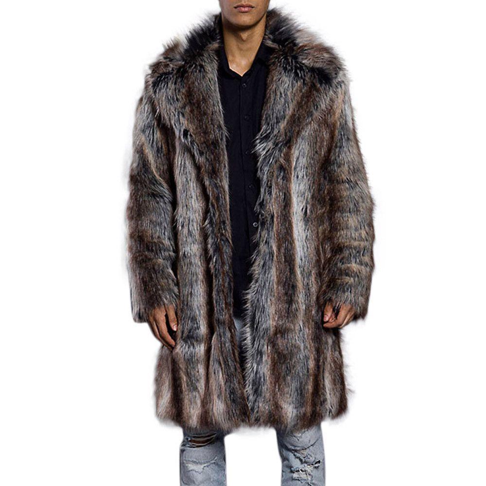 c9958bbcf61a Acheter Feitong 2018 Manteau Hommes Mode Hommes Chaud Épais Col De Fourrure  Manteau Veste Fausse Fourrure Parka Outwear Cardigan Vente Chaude De   103.81 Du ...