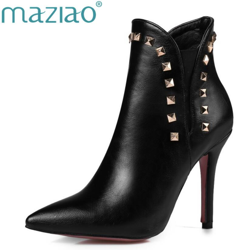 MAZIAO Ankle Boots Women Rivets Thin High Heel Boots Pointed Toe Ladies  Sexy Autumn Shoes Plus Size 12 46 Wine Red White Ankle Booties Combat Boots  For ... e6b917eaea0b