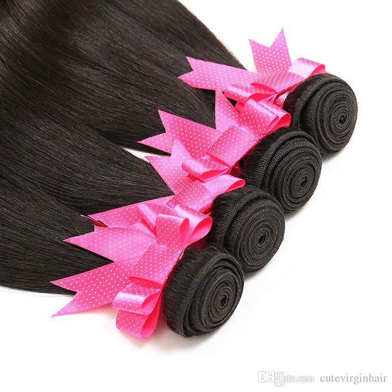 Düz Saç 8-30 Inç 4 adet / grup Brezilyalı Malezya Perulu Bakire İnsan Saç Dokuma Paketler Uzatma En İyi kalite Doğal Renk Satıcıları