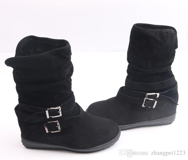 2019 winter explosion fashion warm Martin boots Europe and the United States flat double buckle plus velvet women's boots