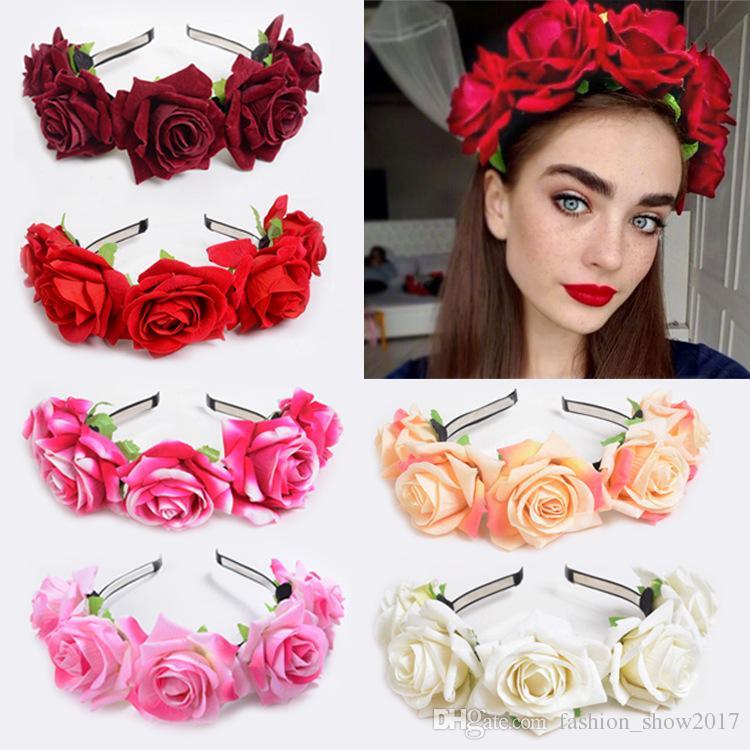 Grosshandel Braut Frauen Rosen Blumen Kronen Haarband Hochzeits