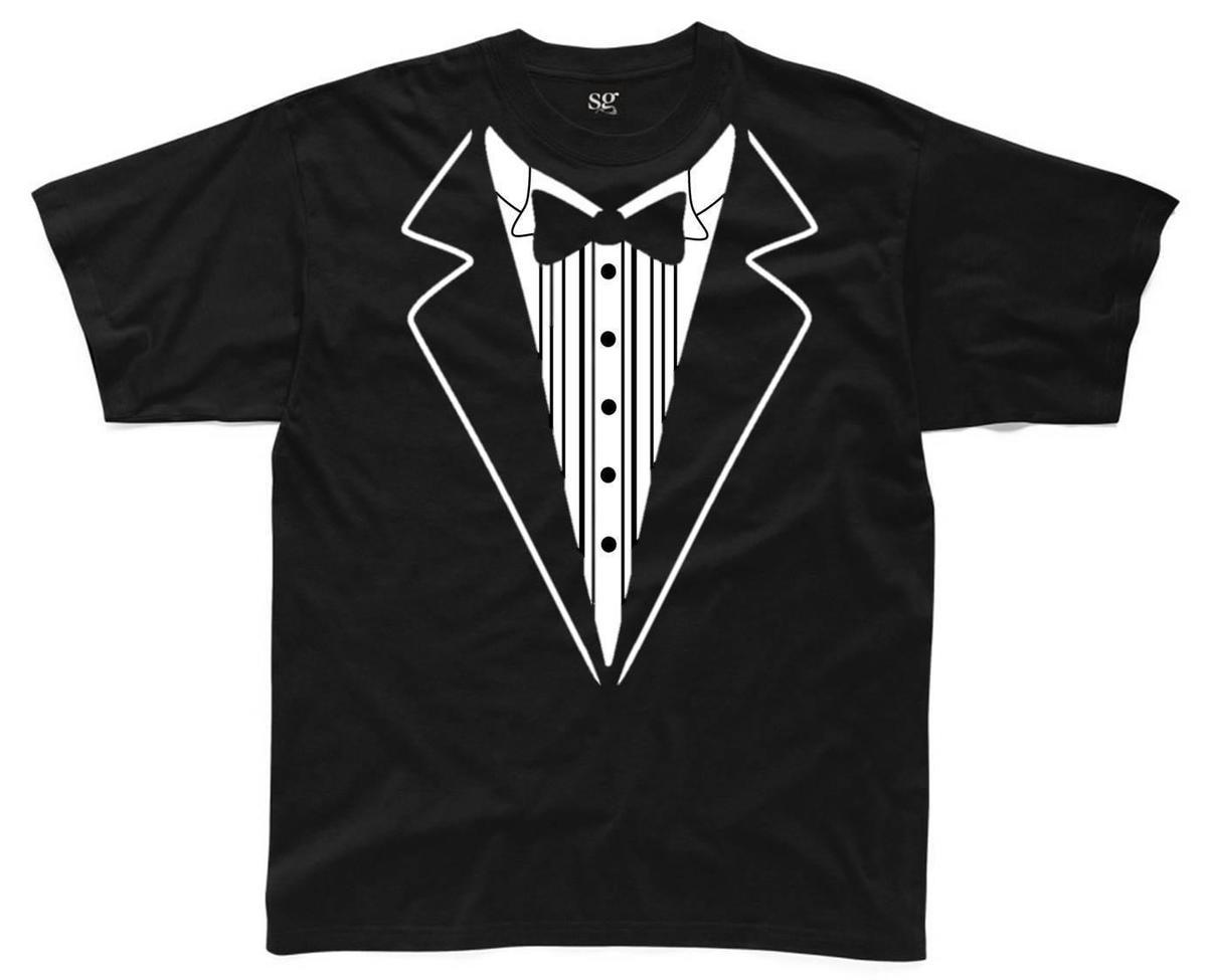 TUXEDO Mens T-Shirt S-3XL Black Funny Printed Novelty Costume Shirt Bow Tie Mans Unique Cotton Short Sleeves O-Neck T Shirt