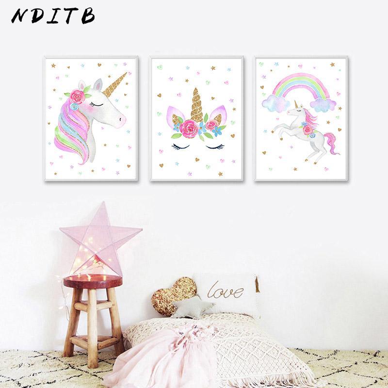 2019 Nditb Cute Children Poster Rainbow Unicorn Canvas Wall Art