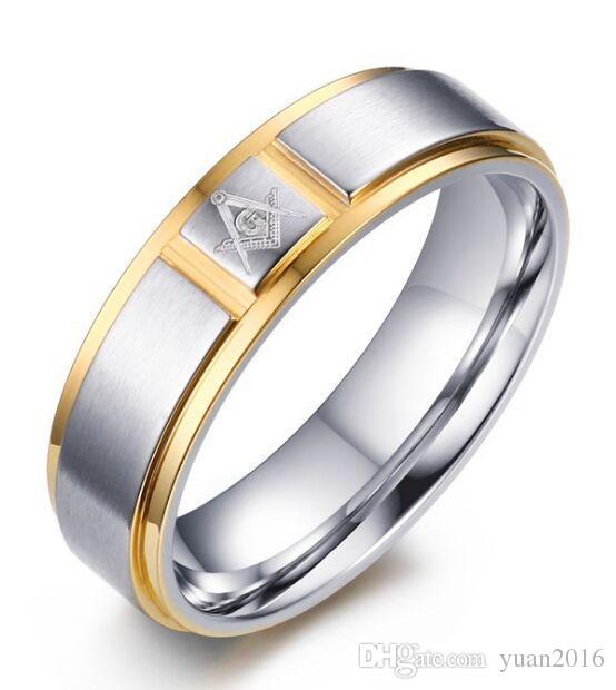 2018 Wedding Ring 6mm Engraved Masonic Symbol Gold Color 316l