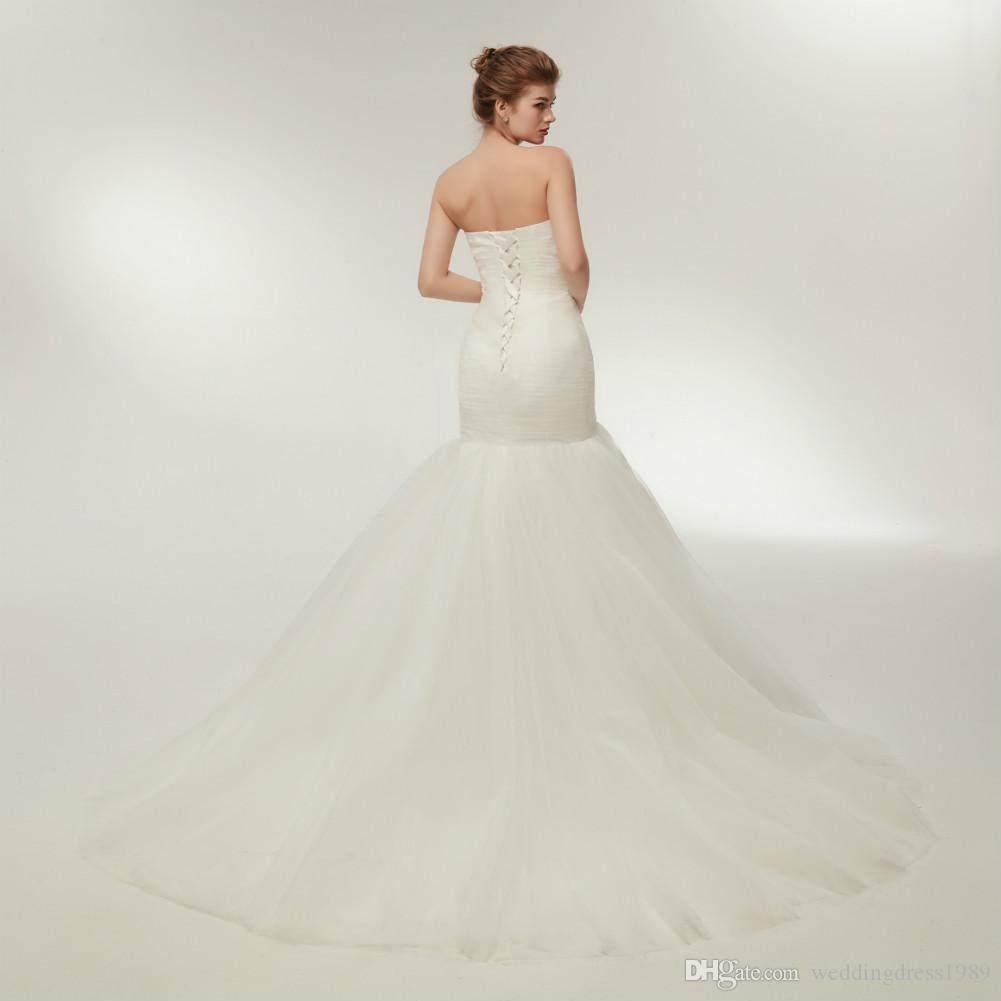 Semplice sirena Tulle bianco Abiti da sposa pieghe Sweetheart Plus Size arabo corsetto Stock Sposa abito da sposa abiti Stock 2-16
