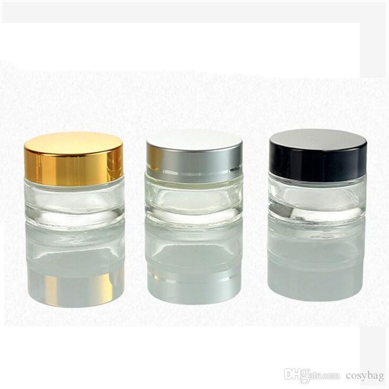 5g / 5ml 10g / 10ml Cosmetic vaso vuoto Pot trucco Bottiglia Crema Viso Contenitore con argento nero oro coperchio e interno Pad 0131