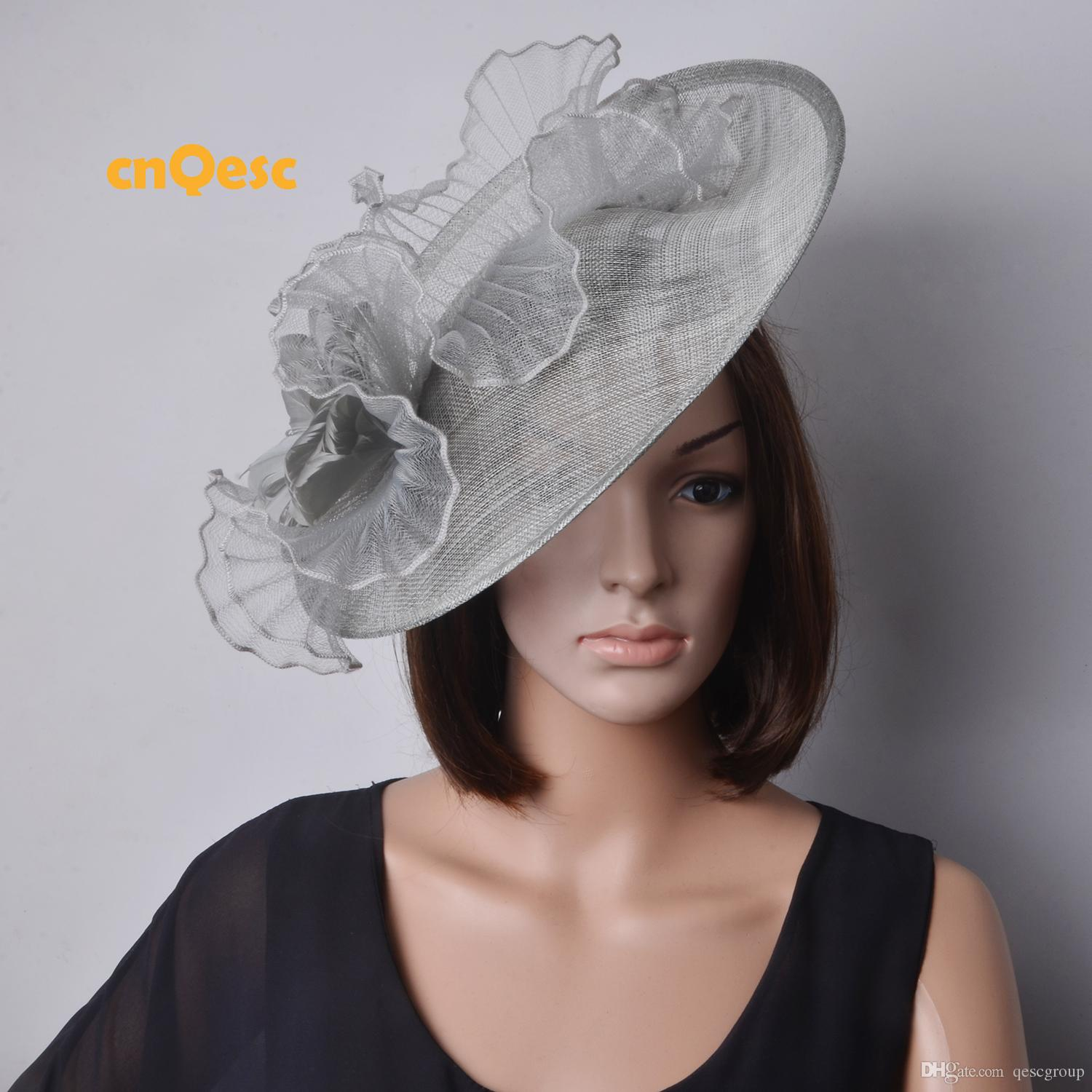 74c4710f1f59b SILVER GREY BIG sinamay hat Saucer fascinator crin fascinator for  races,wedding,kentucky derby.