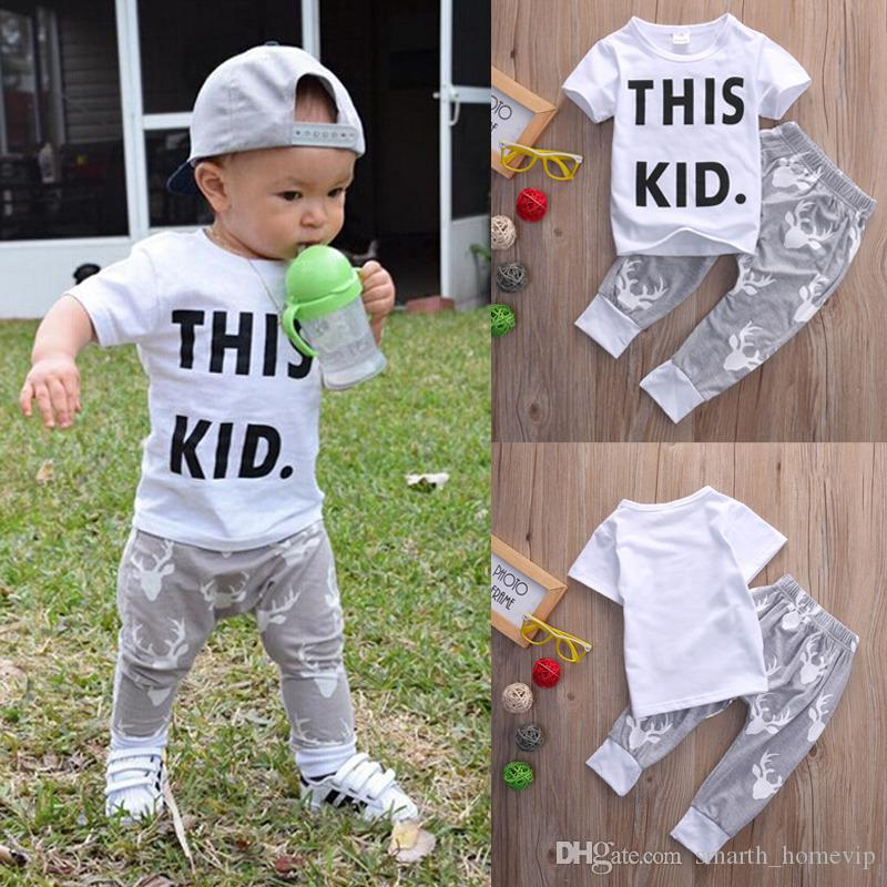 a7fdd2ff01e4 2019 Toddler Kids Baby Boy Clothes Short Sleeve This Kid Letter ...