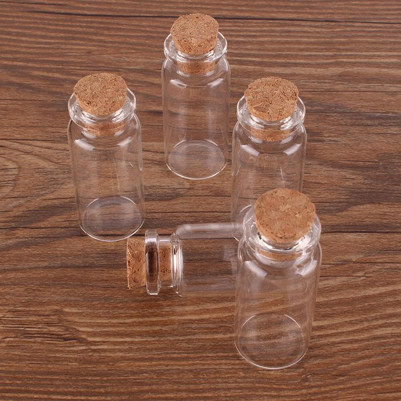 10ml Size 22*50*12.5mm Mini Glass Perfume Spice Bottles Tiny Jars Vials With Cork Stopper pendant crafts wedding gift