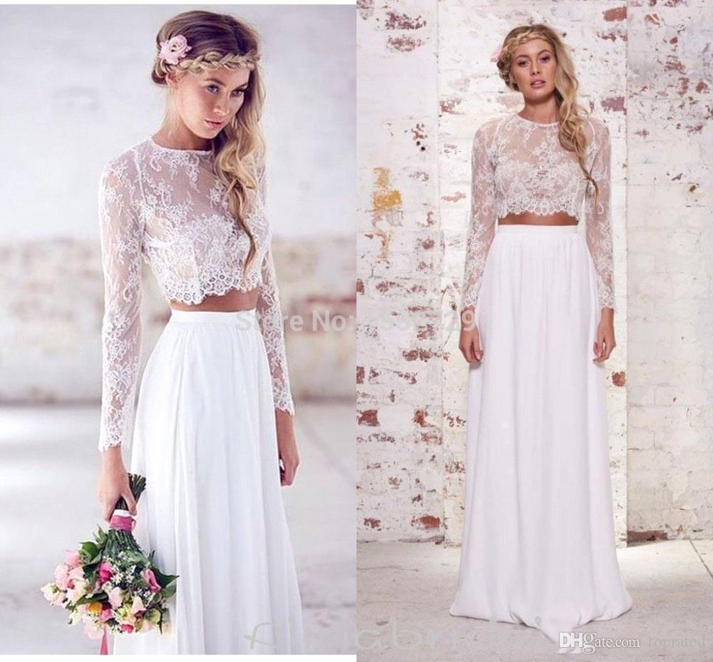 2019 Two Pieces Crop Top Beach Bohemian Wedding Dresses Chiffon Ruched Floor Length Wedding Gowns Spring Lace Long Sleeve Wedding Dresses