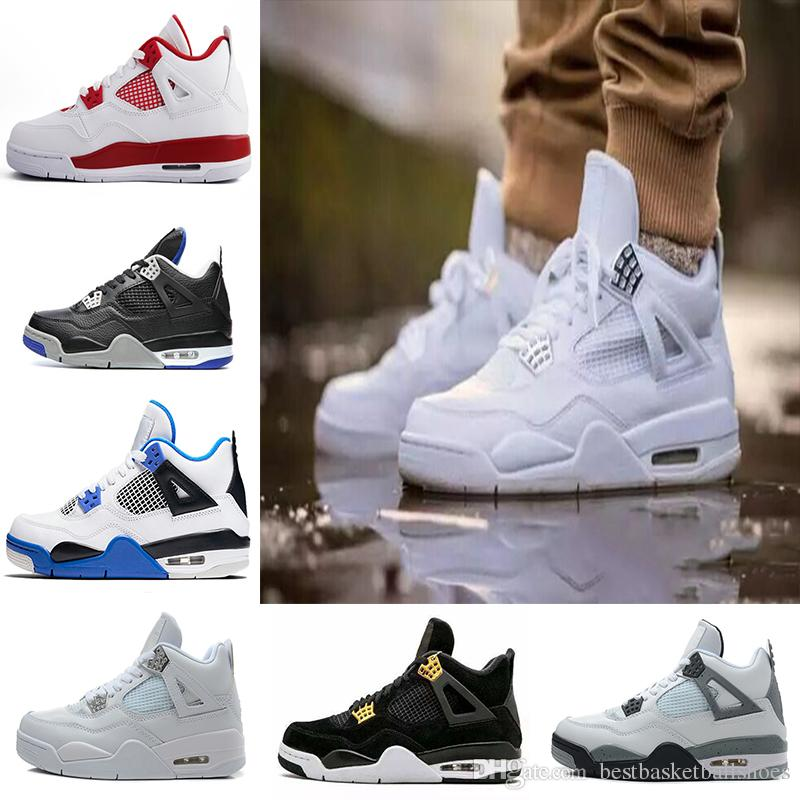 the best attitude 3cf83 eee5b Compre 2018 4 4s Basketball Shoes Hombres 4s Pure Money Royalty Cemento  Blanco Premium Black Bred Fire Red Mens Sports Sneakers Talla 8 13 A  54.28  Del ...