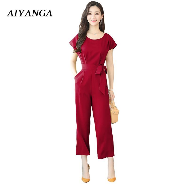 9d50ebaf12d 2019 New Fashion Women S Jumpsuits Short Sleeve Wide Leg Ankle Length Pants  Women Sets Trousers OL Office Lady Elegant Plus Size Red From Yukime