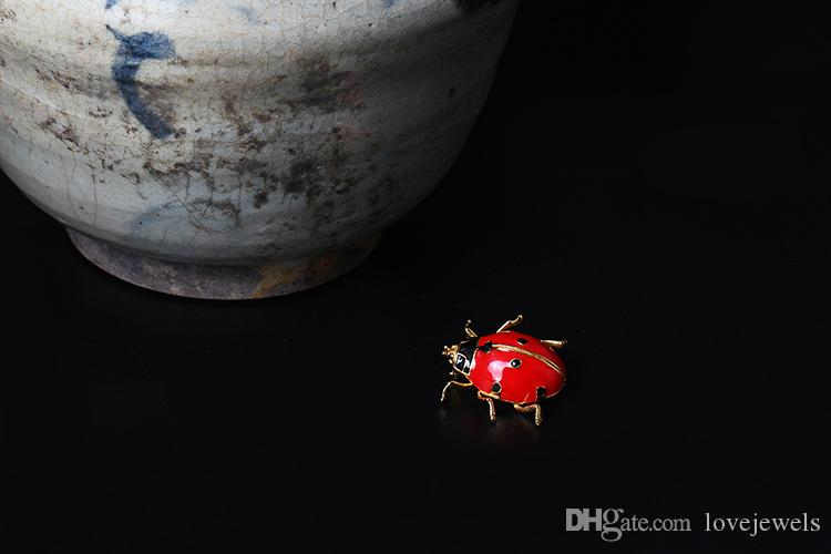 designer jewelry Fashion charm women's 925 Sterling Silver Brooches Insect pin man and female Ladybug Beatles Brooch red fine jewelry