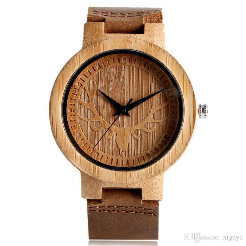 69fa02a7518 Compre Cabeça De Veado Criativo Relógio De Madeira De Bambu Movimento De  Quartzo Anlog Dial Relógios De Couro Genuíno Strap Estilo Vogue Para Homens  Relogio ...