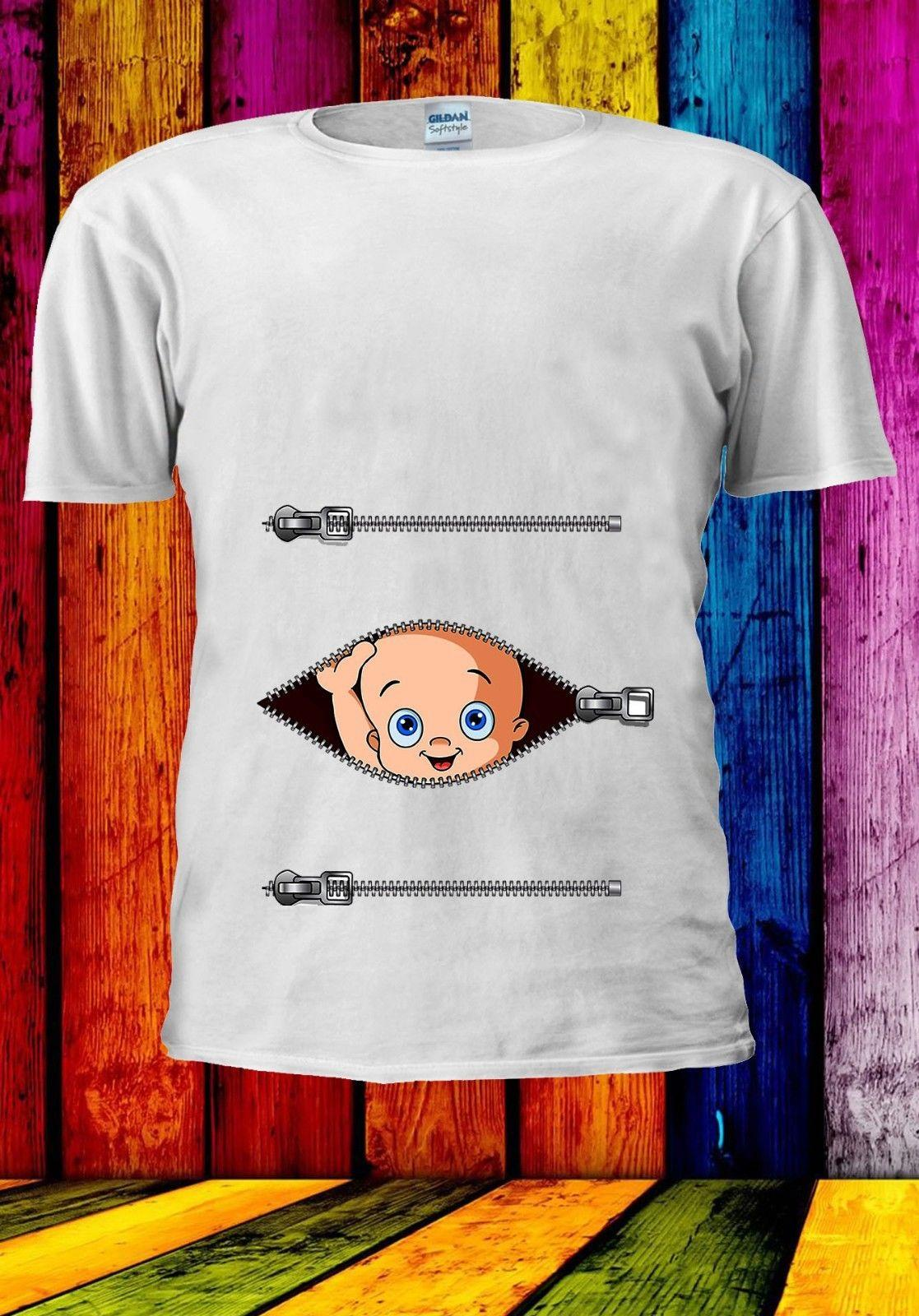 d6ac0884ce928 Peeking Baby Pregnant Maternity Fun Pregnancy Zip Men Women Unisex T Shirt  812 Cartoon T Shirt Men Unisex New Fashion Tshirt Loose Cool Tee Shirts  Designs ...