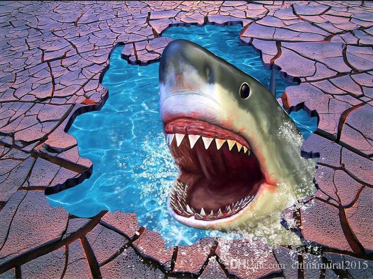 3d Fußboden Hai ~ Großhandel vinyl boden bad sea world hai crack 3d boden zu boden